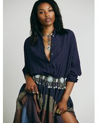 Free People - Purple Ray Of Light Extreme Buttondown - Lyst