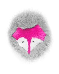 Yves Salomon Pink Fox Face Fur Pin Badge