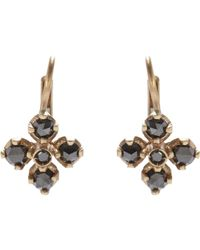 Anaconda | Metallic Black Diamond & White Gold quadrifoglio Drop Earrings | Lyst