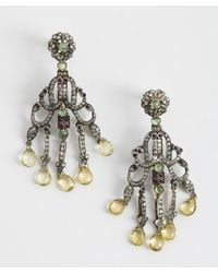Amrapali | Metallic 'Victorian Collection' Emerald, Ruby & Citrine Chandelier Earrings | Lyst