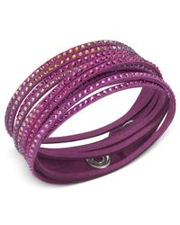 Swarovski   Purple Fuchsia Fabric Crystal Stud Wrap Bracelet   Lyst