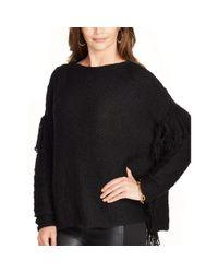 Ralph Lauren - Black Fringed Cotton-blend Sweater - Lyst