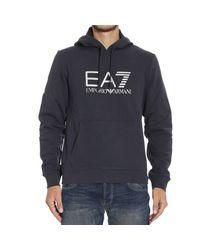 EA7 | Blue Sweater Fleece Hood With Logo for Men | Lyst