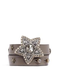 Lanvin | Brown Crystal Star Leather Wrap Bracelet | Lyst