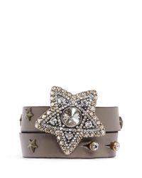 Lanvin - Brown Crystal Star Leather Wrap Bracelet - Lyst