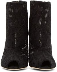 Dolce & Gabbana Black Lace Ankle Boots