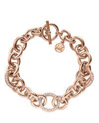 Michael Kors Metallic Pave Link Bracelet Rose Golden