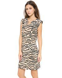Rebecca Taylor Natural Tiger Printed Slit Neck Shift Dress