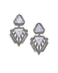 Adriana Orsini - Metallic Deco Pave Triangle Small Drop Earrings/gunmetal-tone - Lyst