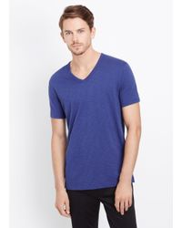 Vince | Blue Slub Cotton Short Sleeve V-neck Tee for Men | Lyst