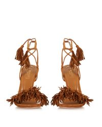 Aquazzura - Brown Wild Thing Suede Fringed Sandals - Lyst