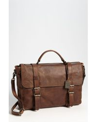 Frye Brown 'logan' Leather Flap Briefcase for men