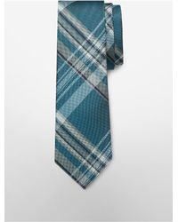 Calvin Klein - Blue White Label Steel University Plaid Tie for Men - Lyst