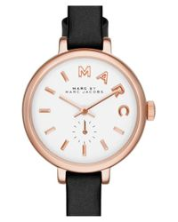 Marc Jacobs | Pink 'sally' Round Leather Strap Watch | Lyst