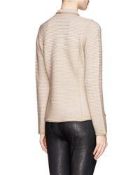 Armani - Brown Rib Knit Jacket - Lyst