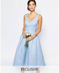 aa0f7f567d Chi Chi London Skater Midi Dress With Keyhole Back Detail in Blue - Lyst