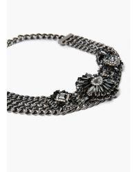 Mango - Black Crystal Link Necklace - Lyst