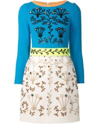 Peter Pilotto - Blue Embroidered Beaded Dress - Lyst