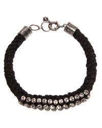 Lanvin - Black Rope Embellished Bracelet - Lyst
