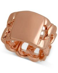 Guess | Pink Rose Gold-tone Solid Surface Chain-link Stretch Ring | Lyst