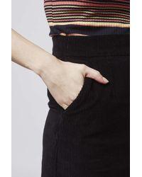 TOPSHOP | Black Tall Moto Cord A-line Skirt | Lyst