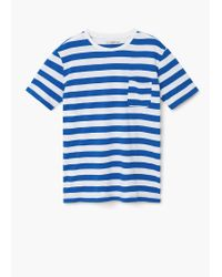 Mango | Blue Chest-pocket Striped T-shirt for Men | Lyst