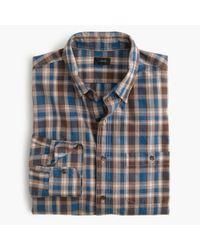 J.Crew - Blue Jaspé Cotton Shirt In Cabin Plaid for Men - Lyst