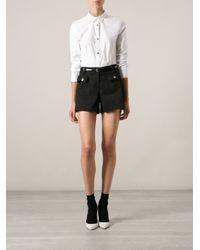 Love Moschino - White Gold-Tone Heart Shape Button Classic Shirt - Lyst