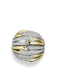 David Yurman | Metallic Labyrinth Dome Ring With Diamonds And Gold | Lyst