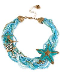 Betsey Johnson | Gold-tone Starfish Blue Braided Bead Collar Necklace | Lyst