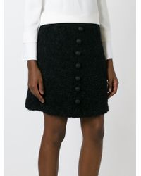 Dolce & Gabbana - Black Button Detail A-Line Skirt - Lyst
