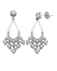 Lord & Taylor | Metallic Sterling Silver And Cubic Zirconia Chandelier Earrings | Lyst