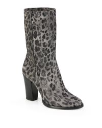 Jimmy Choo Multicolor Music Leopard-Print Suede Mid-Calf Boots