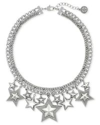 BCBGeneration | Metallic Silver-Tone And Glitz Star Frontal Necklace for Men | Lyst