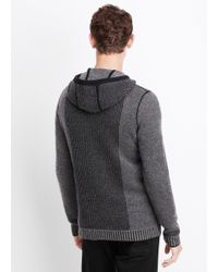 VINCE | Black Wool Cashmere Engineered Stitch Hoodie Sweater for Men | Lyst