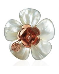 Aeravida | White Flourishing Copper Rose Mother Of Pearl Free Size Ring | Lyst