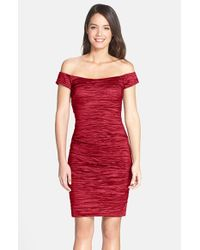 Alex Evenings | Red Stretch Taffeta Cocktail Dress | Lyst