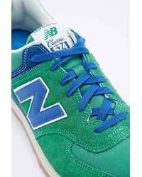 New Balance 574 Classic Running Trainers In Green And Blue for men