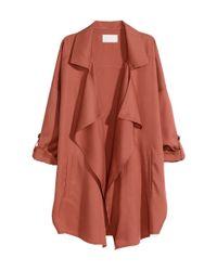 H&M Orange Wide Coat In Lyocell