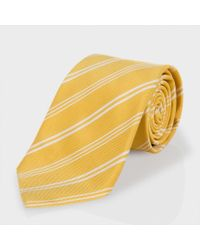 Paul Smith | Yellow Diagonal-Stripe Classic Silk-Blend Tie for Men | Lyst