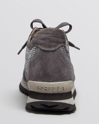 Le Silla Gray Lace Up Platform Wedge Sneakers - Crystal