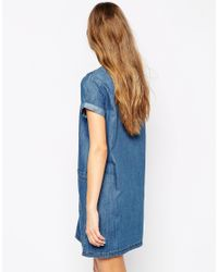 Mango - Blue Denim T-shirt Dress - Lyst