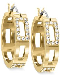 Swarovski | Metallic Cubist Crystal Hoop Earrings | Lyst