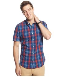 Tommy Hilfiger - Blue Smithson Plaid Short-sleeve Button-down Shirt for Men - Lyst