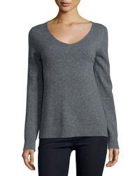 Neiman Marcus - Gray Modern Cashmere V-neck Sweater - Lyst