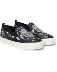 Alexander McQueen | Black Skullprint Canvas and Leather Slipon Sneakers for Men | Lyst