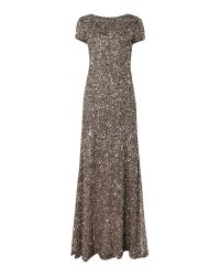 Adrianna Papell | Metallic Cap Sleeve All Over Sequin Dress | Lyst