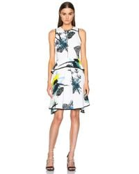 Proenza Schouler - Multicolor Printed Viscose Georgette Waisted Dress - Lyst