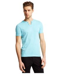 Kenneth Cole Reaction | Blue Eyelet Henley T-shirt for Men | Lyst