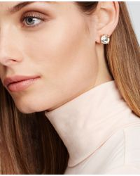 Ann Taylor - Metallic Round Crystal Stud Earrings - Lyst
